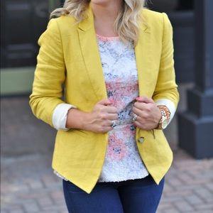 LOFT Yellow Linen Blazer